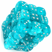 Aqua & Silver Cirrus 12mm D6 Dice Block